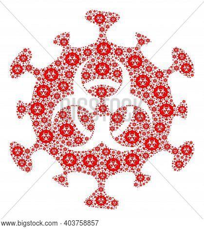 Vector Biohazard Coronavirus Collage Is Designed From Scattered Fractal Biohazard Coronavirus Icons.