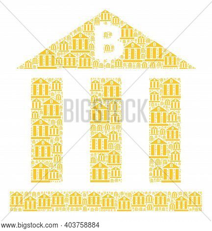 Vector Bitcoin Bank Mosaic Is Formed From Scattered Fractal Bitcoin Bank Icons. Fractal Mosaic For B
