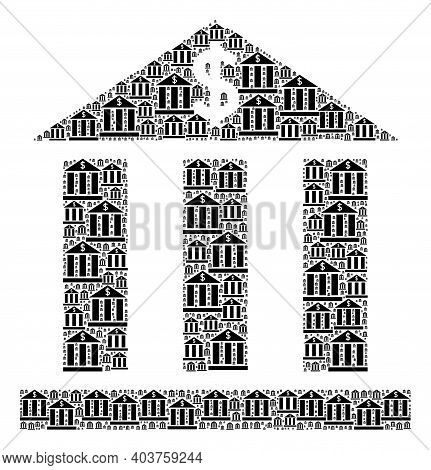 Vector Dollar Bank Mosaic Is Created Of Random Recursive Dollar Bank Icons. Recursive Combination Of