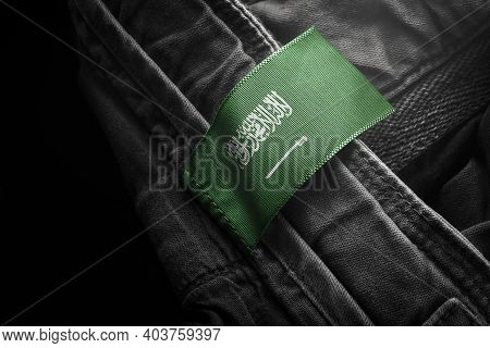 Tag On Dark Clothing In The Form Of The Flag Of The Saudi Arabia