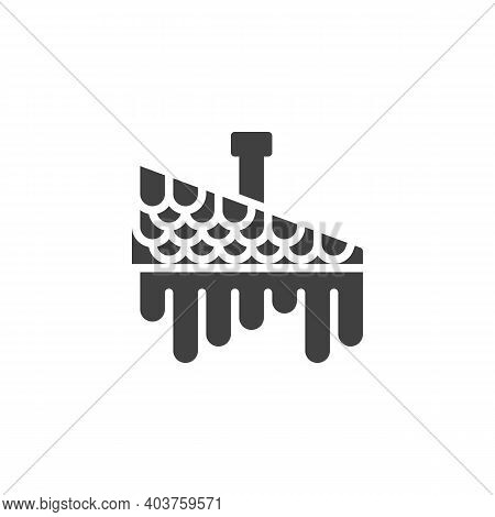 Icicles On Roof Vector Icon. Filled Flat Sign For Mobile Concept And Web Design. House Roof With Ici