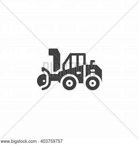 Snow Cleaning Machine Vector Icon. Filled Flat Sign For Mobile Concept And Web Design. Snow Removal
