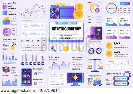 Bundle Cryptocurrency Mining Infographic Ui, Ux, Kit Elements. Different Charts, Diagrams, Workflow,