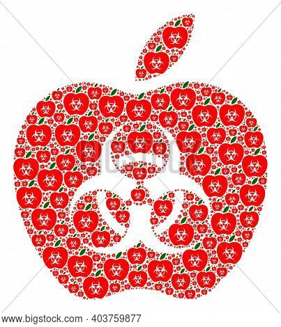 Vector Infected Apple Fractal Is Constructed Of Random Fractal Infected Apple Parts. Fractal Mosaic