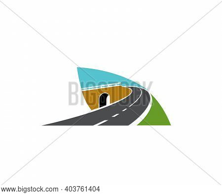 Freeway Road Turn Over Tunnel Or Bridge Icon. Motorway And Speed Highway, Driveway Intersection, Lev