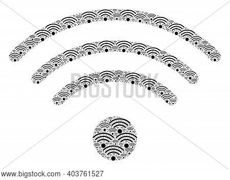Vector Wi-fi Source Fractal Is Created Of Repeating Recursive Wi-fi Source Pictograms. Fractal Colla