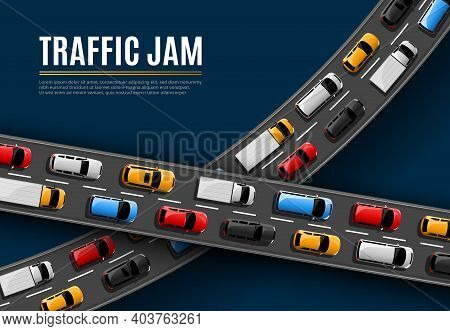 Traffic Jam Vector Poster With Cars Driving On Road Top View. Rush Hour In City, Vehicles On Two Lan