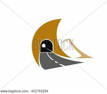 Highway Road Tunnel, Underground Motorway Icon. Freeway, Asphalt Road And Driveway Tunnel Through Mo