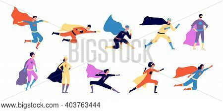 Superhero Characters. Active Hero, Flying Man Woman In Action. Cartoon Power Pose, Flat People Wear