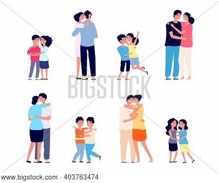 People Hugs Together. Couple Hugging, Friendship Of Smiling Girl Boy. Happy Friends, Cartoon Adults