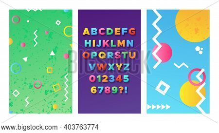 Bright Alphabet. Colorful Memphis Poster, 90-80 Style Flyers Design. 3d Typeface With Shadow, Pop Ar