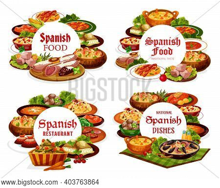 Spanish Food Cuisine, Menu Meals Of Restaurant In Spain, Vector Dishes Of Meat, Paella And Snacks. S
