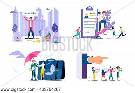 Set Of Human Resource Concepts. Unemployment With Dismissed People, Hiring Employees And New Workpla