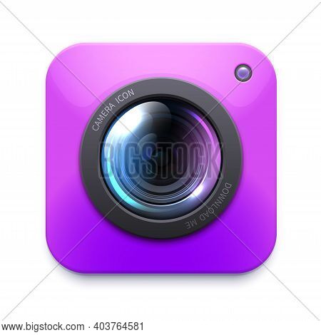 Photo Or Video Camera Icon, Isolated Vector Zoom, Snapshot, Photocamera. Photographer Equipment Symb