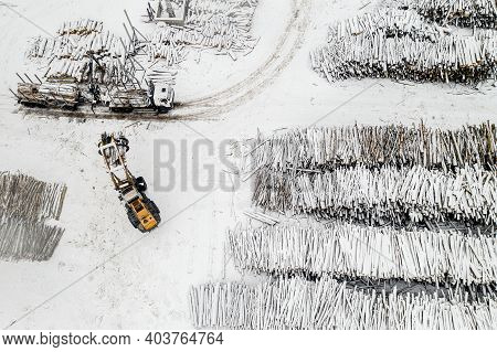 Loader Loads Logs Into The Truck Stacked In Piles Covered With Snow Top View