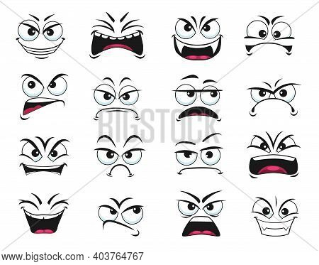 Cartoon Face Expression Isolated Vector Icons, Negative Emoji , Evil, Scared And Shocked, Gloat, Gri