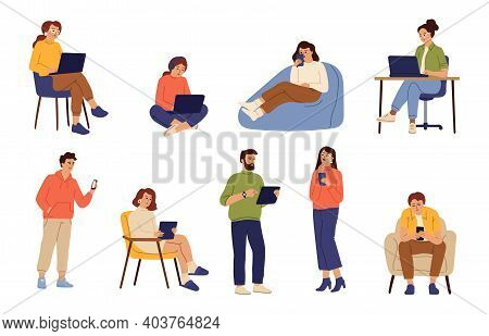 People Chatting Online. Smiling Person With Mobile Phone, Cartoon Woman Use Internet. Communication