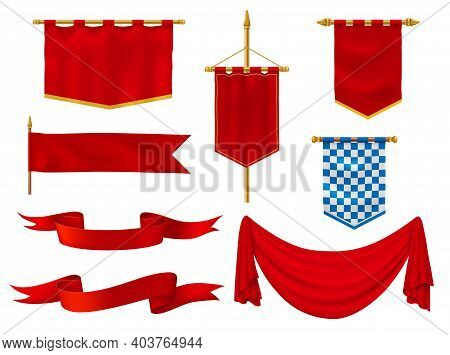 Medieval Flags And Banners, Royal Vector Fabric Of Red And Chequered Blue And White Colors. Vintage