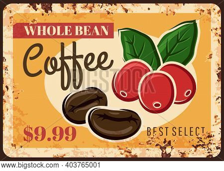 Coffee Beans Rusty Metal Plate, Coffee Shop Price, Vector Vintage Grunge Poster. Coffee Beans Roast