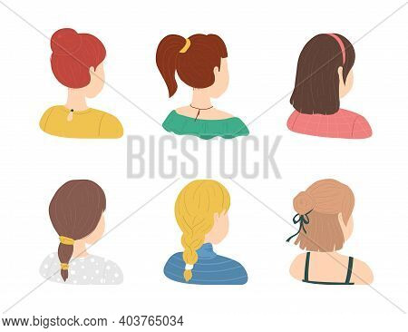 Cartoon Color Various Haircuts Ladies Icons Set Flat Design Style. Vector Illustration Of Female Hai