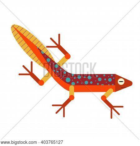 Swimming Newt Salamander Icon In Flat Design