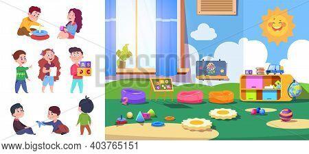 Kindergarten Kids. Baby, Preschool Children Characters. Kid Zone Interior Or Room For Little People.