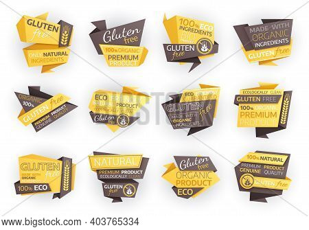 Gluten Free Eco Food Labels, Organic Natural Product Vector Tags Or Emblems. Natural Bio Food, One H