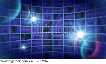 World Tv Show Background. News Backdrop, Shine Abstract Futuristic Space For Filming. Broadcast Chan