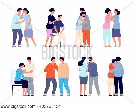People Comforting. Man Support, Comforted Shoulder Hugs Or Emotional Characters. Persons Together, E