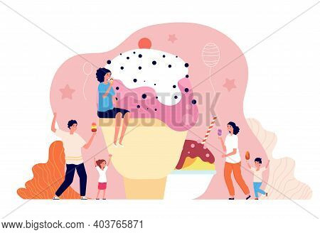 People With Ice Cream. Family Eating Dessert, Summer Cold Sweet. Children Adults Delicious Food, Utt