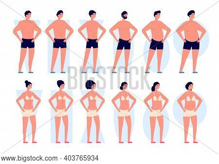 Body Types. Woman Shapes, Men Bodies Silhouettes. Fashion Icons, Different Girls Boys In Underwear,