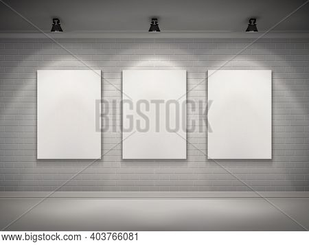 Gallery Interior With Blank Placard Set In Spotlights Background Vector Illustration
