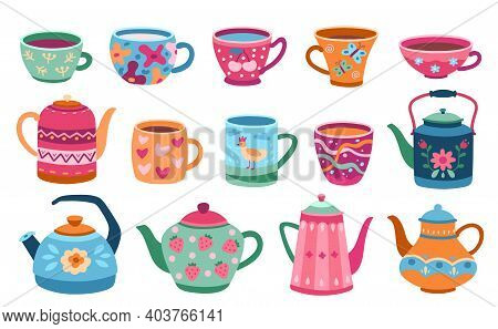 Cups And Teapot. Scandinavian Kitchen Cup, Trendy Colored Coffee Mug Kettles. Floral Ornaments Crock
