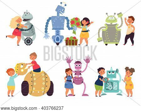 Kids Robot Programming. Toy Robots Coding, Child With Electronic Characters. Cartoon Friends, Childr