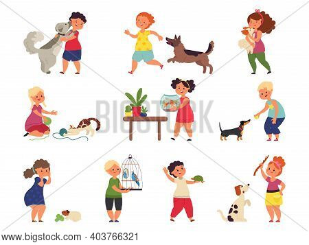 Children And Pets Characters. Cartoon Friends, Happy Kids Hugging Animal. Child Play Petting Care, I