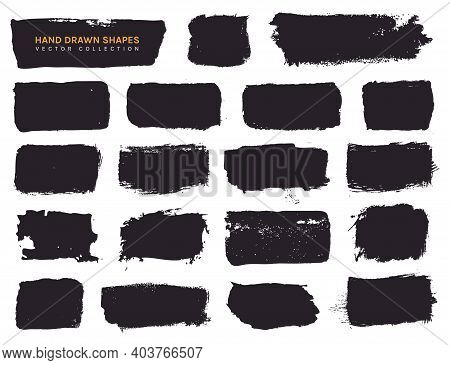 Paint Brush Stains And Grunge Hand Drawn Shapes For Frames, Banners, Labels, Text Boxes, Clipping Ma