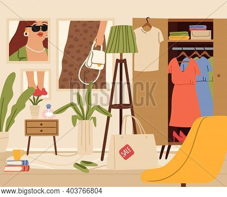 Chaos In Room. Female Zone, Living Or Girl Flat Interior. Wardrobe, Fashion Posters On Wall, Sale Sh