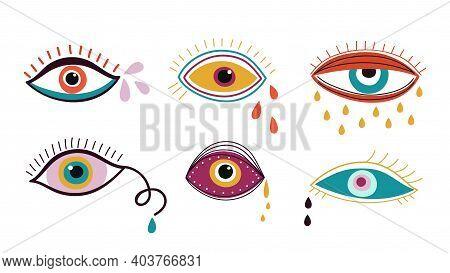 Crying Eyes. Abstract Eye, Drops Colorful Falling Down. Contemporary Trendy Doodle Elements, Sad Emo