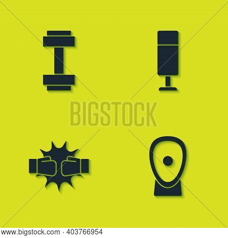 Set Dumbbell, Boxing Training Paws, Punch Boxing Gloves And Punching Bag Icon. Vector