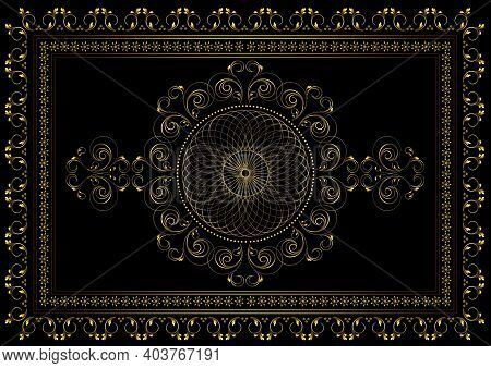 Vintage Gold Frame With Interlocking Oval Ornament In The Center And A Border Of Curved Strips With