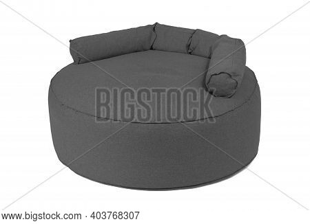 Enormous Grey Beanbag Isolated On White Background
