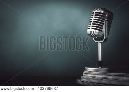 Microphone With Magazine On Wooden Table Vintage Stlye