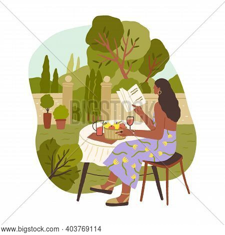 Young Woman Spending Leisure Time Alone Reading Book And Drinking Wine, Relaxing And Enjoying Slow L