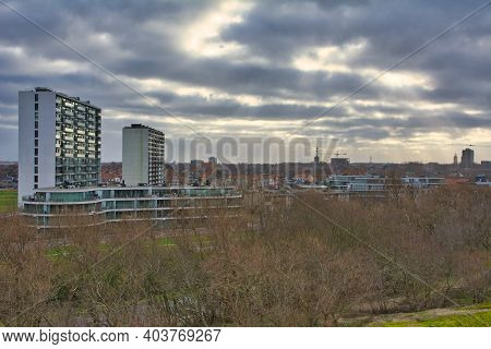 Ostend, Belgium, January 2021: Inland View On Residential Apartment Buildings From The Dunes Of Oste