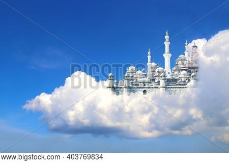 A fabulous lost city in beautiful blue sky with cumulonimbus. Fantasy castle in white clouds