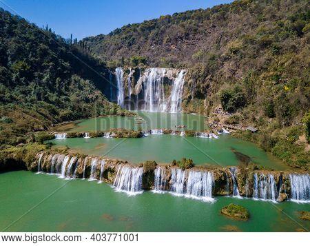 Aerial View Of Jiulong Waterfall In Luoping, Yunnan, China