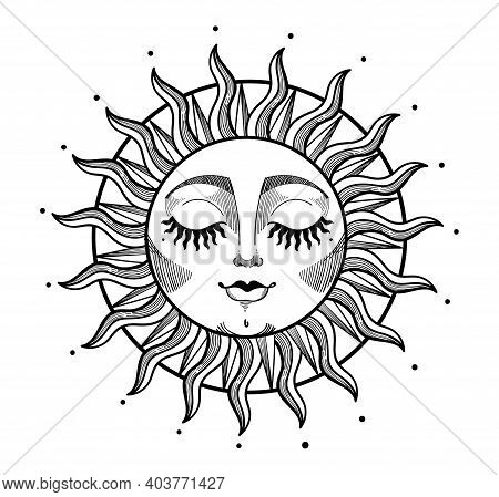 Bohemian Illustration, Stylized Vintage Design, Sun With Face And Closed Eyes, Stylized Drawing, Tar
