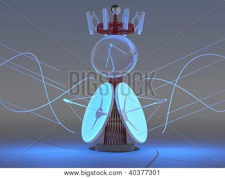 Antenna Communication. Satellite Dish. 3D Model