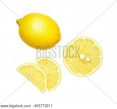 Set Of Fresh Lemon Isolated On White Background