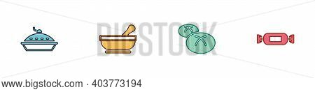 Set Homemade Pie, Mortar And Pestle, Bread Loaf And Candy Icon. Vector